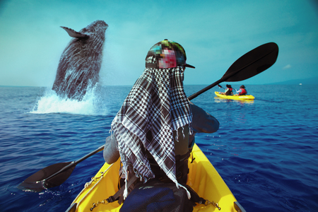 Whale watching travel adventure. Woman Paddling on yellow canoe in open water of blue ocean. View from back on sea surface. Stock Photo