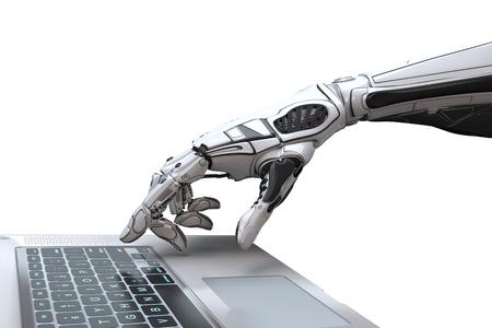 Futuristische Roboterhand, die mit Laptoptastatur schreibt und arbeitet. Mechanischer Arm mit Computer. 3d render auf weißem hintergrund Standard-Bild