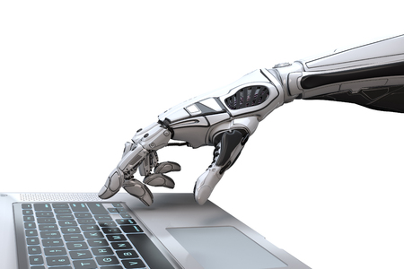 Mão de robô futurista digitando e trabalhando com o teclado do laptop. Braço mecânico com computador. 3d rendem no fundo branco Foto de archivo
