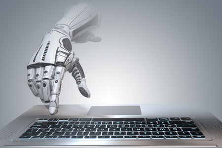 Futuristic robot hand typing and working with laptop keyboard. Mechanical arm with computer. 3d render on gradient gray background  Stock Photo