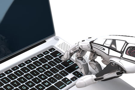 Futuristic robot hand typing and working with laptop keyboard. Mechanical arm with computer. 3d render on gradient background