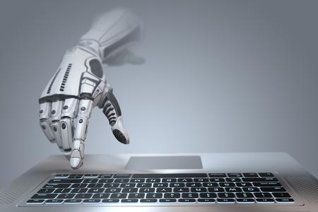 未来的なロボットの手のタイピングとラップトップのキーボードで作業します。コンピュータ付きの機械式腕。グラデーショングレーの背景に 3D レ