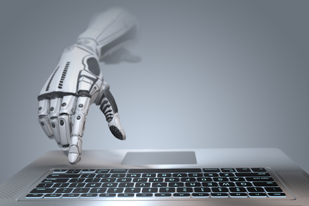 Futuristic robot hand typing and working with laptop keyboard. Mechanical arm with computer. 3d render on gradient gray background  Banco de Imagens