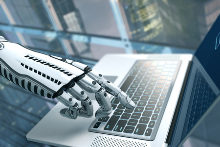 Futuristic robot hand typing and working with laptop keyboard. Mechanical arm with computer. 3d render on white background  Stock Photo