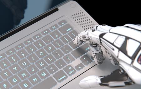 Futuristic robot conceptual design, closeup image of artificial mechanical arm and laptop keyboard, digital reality. 3d render
