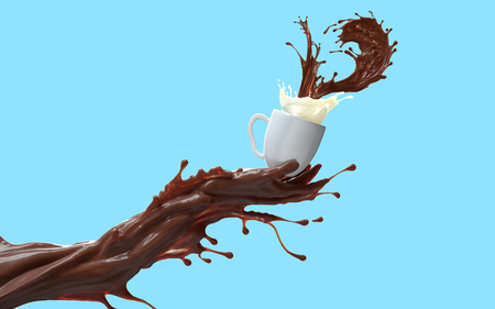 Coffee splash mixed with milk. Liquid coffee hand giving a cup of hot chocolate and milky cream. 3d rendering on blue flat background