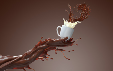 Coffee splash mixed with milk. Liquid coffee hand giving a cup of hot chocolate and milky cream. 3d rendering on brownish background