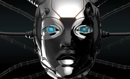 Female bot face on dark digital background. Artificial intelligence in virtual reality. Robot head conceptual design closeup portrait. 3d render