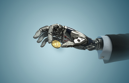 Robotic arm taking bitcoin against digital hud background. Artificial intelligence in virtual world. Electronic commerce business design. 3d rendering Stock Photo