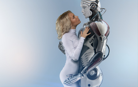 Human and robot relationship concept, attractive blue-eyed blonde wearing white bodysuit, gently embracing a male cyborg, looking into his eyes against bright background Stok Fotoğraf