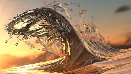 Golden Glossy Splashed ocean water on sunset orange background. 3d render