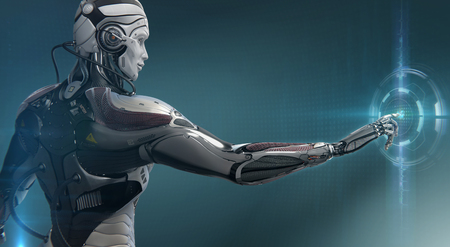 Highly detailed 3d render of robot touching virtual UI user interface, digital background