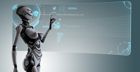 Futuristic robo girl working with hud on digital background, 3d render