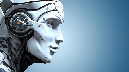 ロボットヘッドのクローズアップポートレート。人工設計コンセプト。3D レンダリング