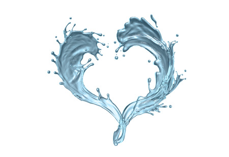 Water splashes in shape of a hearth against background Stock Photo