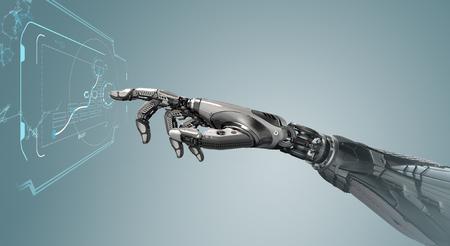Un bras mécanique robotique ressemble à une main humaine touchant un écran tactile. Organisme cybernétique avec intelligence artificielle fonctionnant avec un arrière-plan infographique virtuel. Concept de design futuriste. Rendu 3d Banque d'images