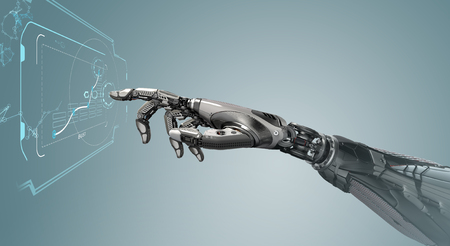 A robotic mechanical arm looks as like a human hand touching a touchscreen. Cybernetic organism with Artificial Intelligence working with virtual Infographic background . Futuristic design concept. 3d rendering