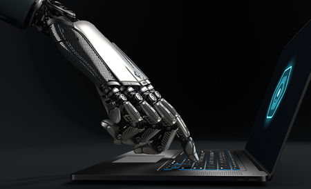 Closeup image of detailed cybernetic arm touching enter key on laptop. Artificial intelligence manipulating objects. 3d illustration