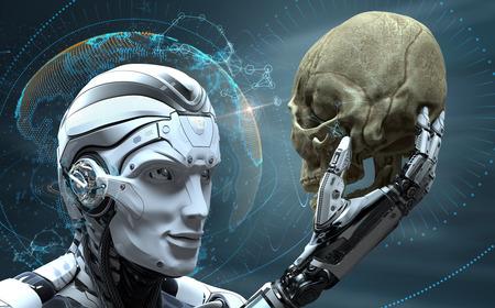 進化したサイバネティック生物の世界で人間の頭蓋骨を観察する人工知能を持つロボット。3D レンダリング イメージ