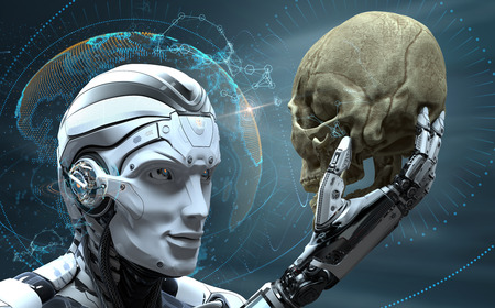 Roboter mit künstlicher Intelligenz, der den menschlichen Schädel in der Welt des entwickelten kybernetischen Organismus beobachtet. 3d gerendertes Bild