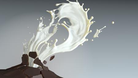 Milk splash breaking chocolate bars
