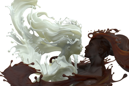 3d render of male and female embracing sculptures of splashing Milk and chocolate coffee, isolated on white background