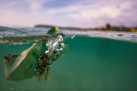 Garbage in sea water, closeup shot,  environmental problem concept