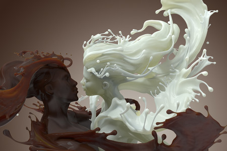 3d render of male and female embracing sculptures of splashing Milk and chocolate coffee
