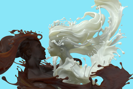 3d render of male and female embracing sculptures of splashing Milk and chocolate coffee, isolated on blue background