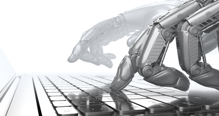 Robot arms typing on notebook keyboard, 3d render Archivio Fotografico