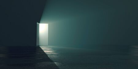 hope amid the gloom concept, a bright exit door in dark room, the light at the end of the tunnel Archivio Fotografico