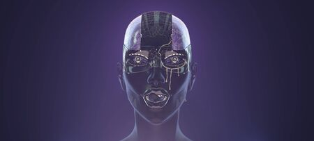 Female cyborg face with golden paint on it, futuristic robotic art, 3d render