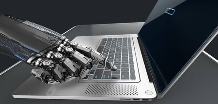 Robot arm mechanical fingers working with silver laptop, technology concept 3d render
