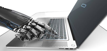 Robot mechanical arm touching with fingers a screen and keyboard of silver laptop, technology concept 3d render