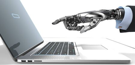 Robot mechanical arm pointing with fingers a screen and keyboard of silver laptop, technology concept 3d render