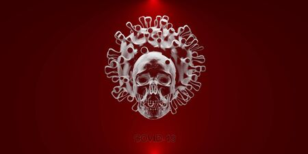 COVID19 deadly virus Novel Coronavirus SARS-CoV-2, 3d render Archivio Fotografico