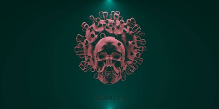 COVID19 deadly virus Novel Coronavirus SARS-CoV-2, 3d render Archivio Fotografico - 143617220