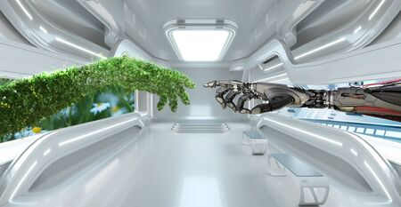 Green eco technology conceptual design, arm made of grass and lush and robotic hand, 3d render