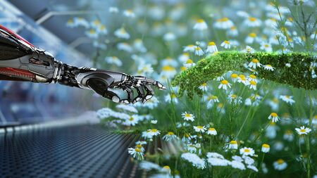 Green technology conceptual design, human arm covered with grass and lush and robotic hand, 3d render Archivio Fotografico - 144425067