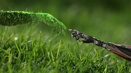 Green technology conceptual design, human arm covered with grass and lush and robotic hand, 3d render Archivio Fotografico - 144424843