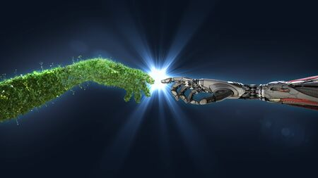Green technology conceptual design, human arm covered with grass and lush and robotic hand, 3d render Archivio Fotografico - 144425074