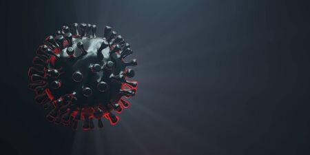 COVID19 deadly virus Novel Coronavirus SARS-CoV-2, 3d render with copyspace