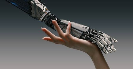 Woman arm gently touching robot hand, artificial intelligence augmented reality collaboration friendship concept