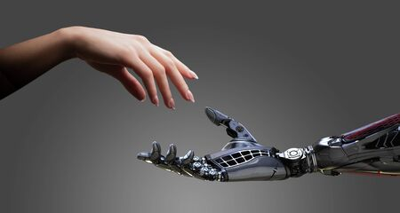 Woman and robot hands collaboration friendship conceptual design Archivio Fotografico