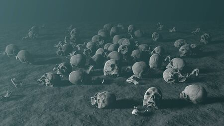 Human skulls skattered on dusty ground against foggy background, apocalypse concept, 3d render Archivio Fotografico