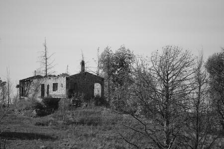 burnt: burnt house Stock Photo