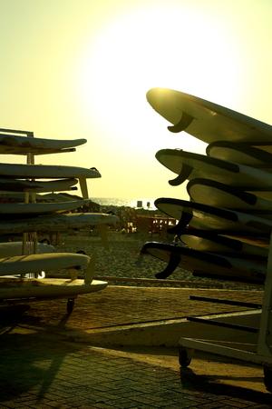 aviv: surfboars beach in tel aviv Stock Photo