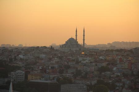 aya sofia: blue mosque at golden hour