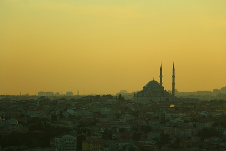 aya sofia: top view of istambul at golden hour Stock Photo