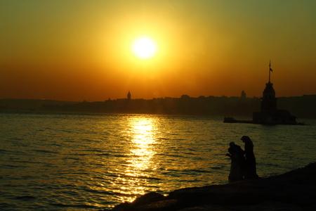 aya sofia: muslins in bosphorus at sunset